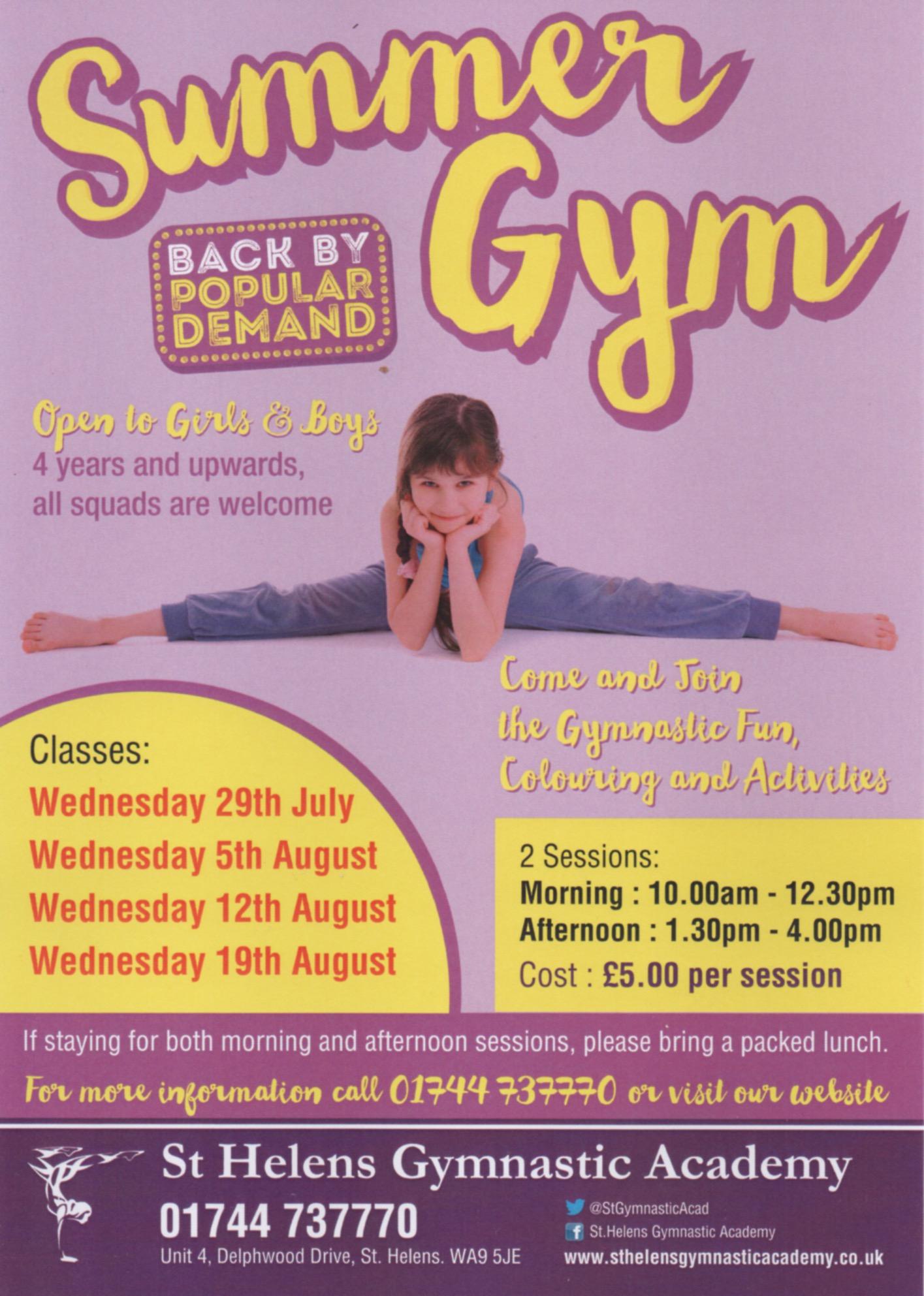 Summer Gym at St.Helens Gymnastic Academy